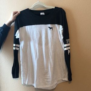 black and white long sleeve, open back